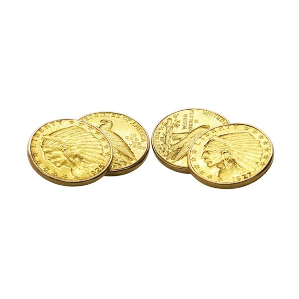 Pair of $2 1/2 Quarter Eagle Gold Coin Cufflinks with 14k Gold Backs
