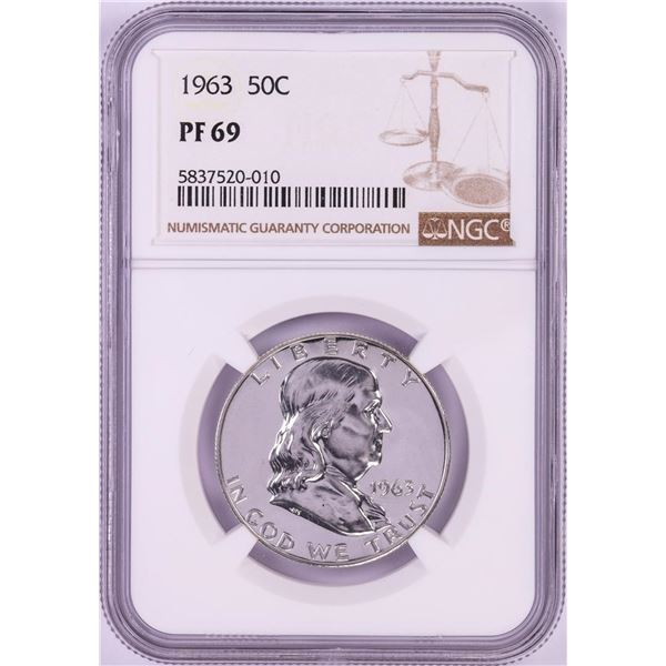 1963 Proof Franklin Half Dollar Coin NGC PF69