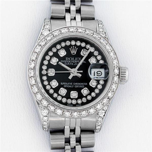 Rolex Ladies Stainless Steel Black Diamond Lugs Datejust Wristwatch