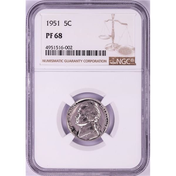 1951 Proof Jefferson Nickel Coin NGC PF68