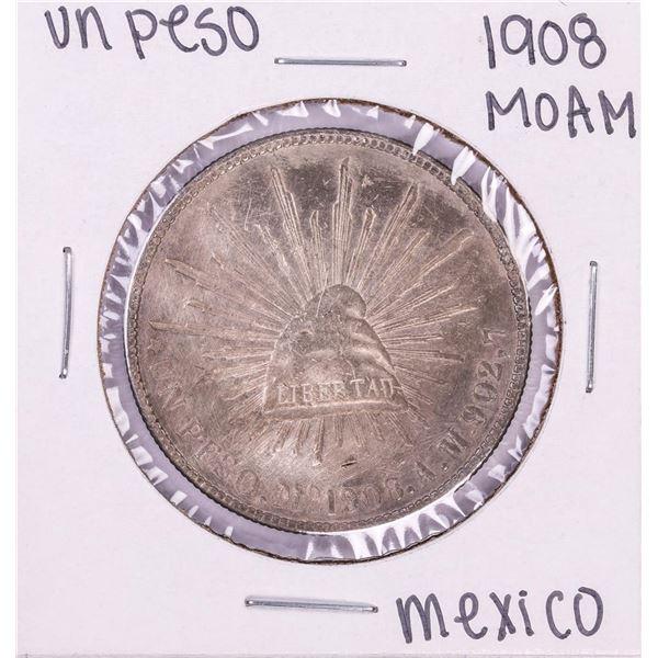 1908 Mo AM Mexico Un Peso Silver Coin
