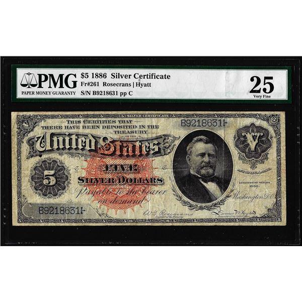 1886 $5 Silver Dollar Back Silver Certificate Fr.261 PMG Very Fine 25