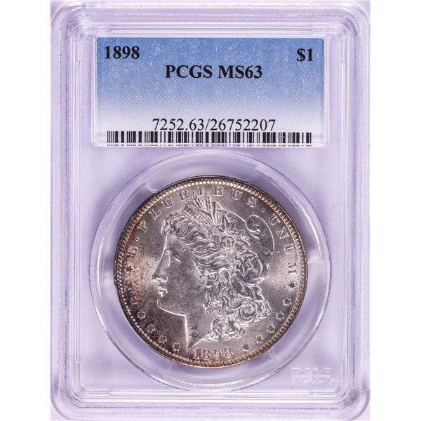1898 $1 Morgan Silver Dollar Coin PCGS MS63