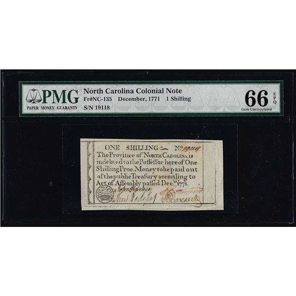 December, 1771 North Carolina 1 Shilling Colonial Currency Note PMG Gem Unc. 66EPQ
