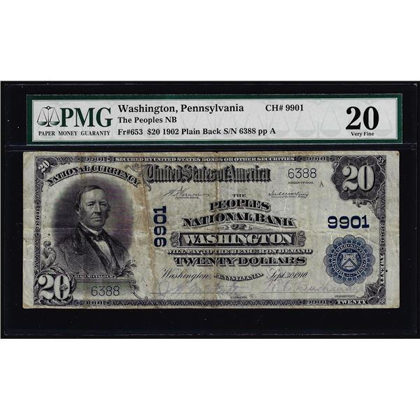 1902PB $20 Peoples NB of Washington, PA CH# 9901 National Currency Note PCGS VF20