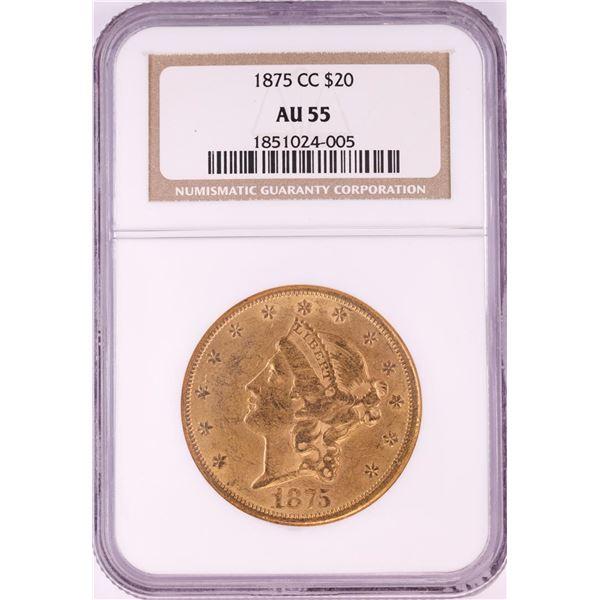 1875-CC $20 Liberty Head Double Eagle Gold Coin NGC AU55