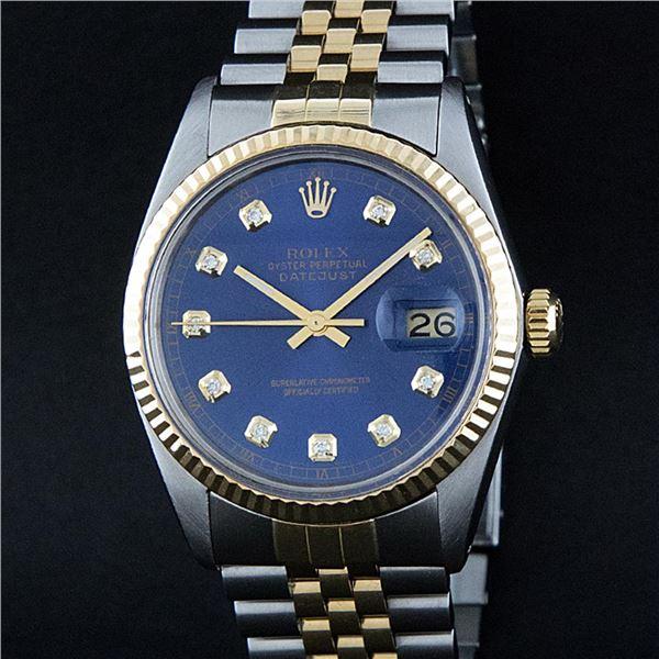 Rolex Men's Two Tone Blue Diamond Oyster Perpetual Datejust Wristwatch