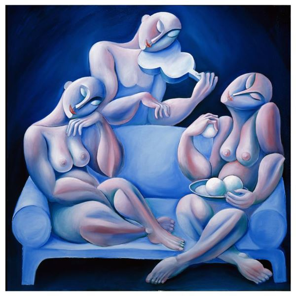 """Yuroz """"The Light Blue Couch"""" Limited Edition Serigraph on Paper"""