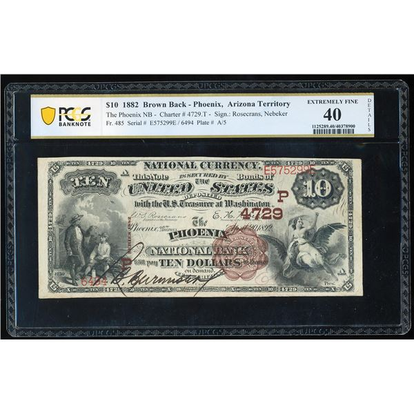 1882BB $10 Phoenix, Arizona Territory CH# 4729 National Note PCGS Extremely Fine 40