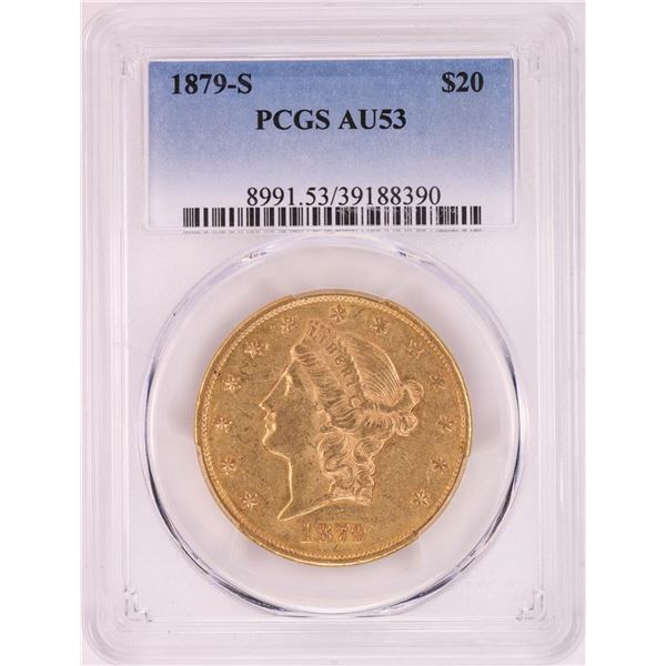 1879-S $20 Liberty Head Double Eagle Gold Coin PCGS AU53