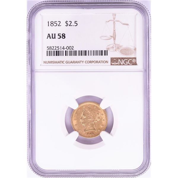 1852 $2 1/2 Liberty Head Quarter Eagle Gold Coin NGC AU58