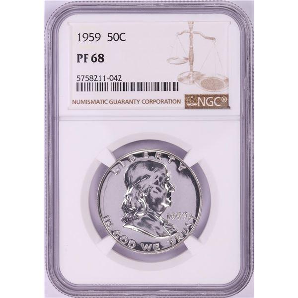 1959 Proof Franklin Half Dollar Coin NGC PF68