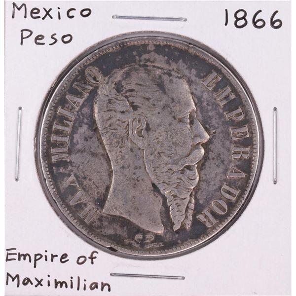 1866 Mexico Peso Empire Of Maximillian Silver Coin