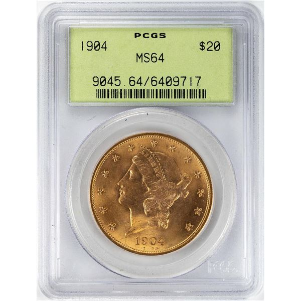1904 $20 Liberty Head Double Eagle Gold Coin PCGS MS64 OGH