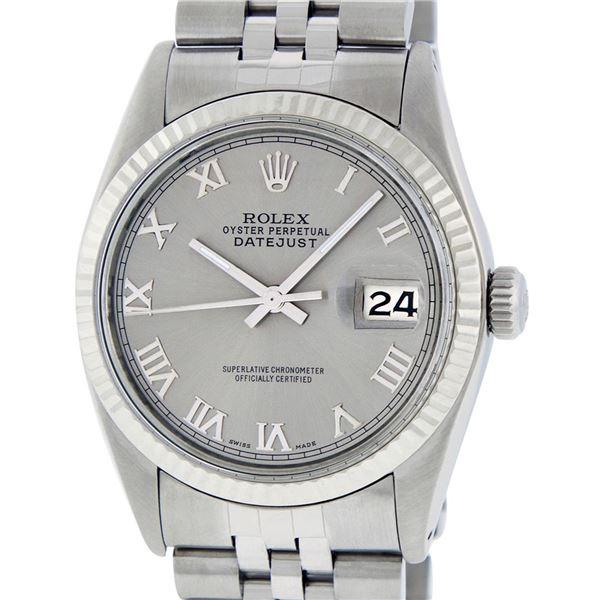 Rolex Men's Stainless Steel Slate Grey Roman Oyster Perpetual Datejust Wristwatch