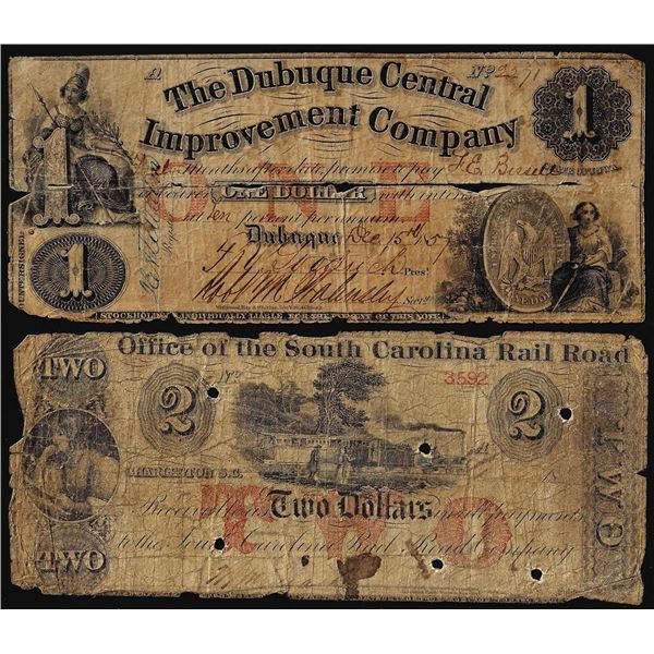 Lot of (2) Miscellaneous 1800's Obsolete Banknotes