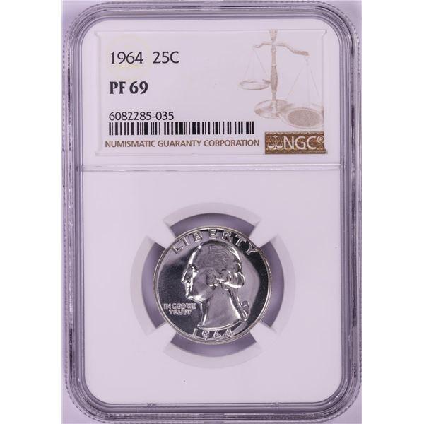 1964 Proof Washington Quarter Coin NGC PF69