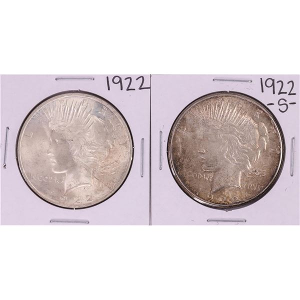 Lot of 1922 & 1922-S $1 Peace Silver Dollar Coins