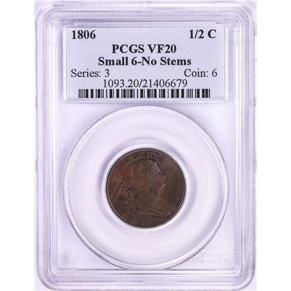 1806 Small 6 No Stems Draped Bust Half Cent Coin PCGS VF20