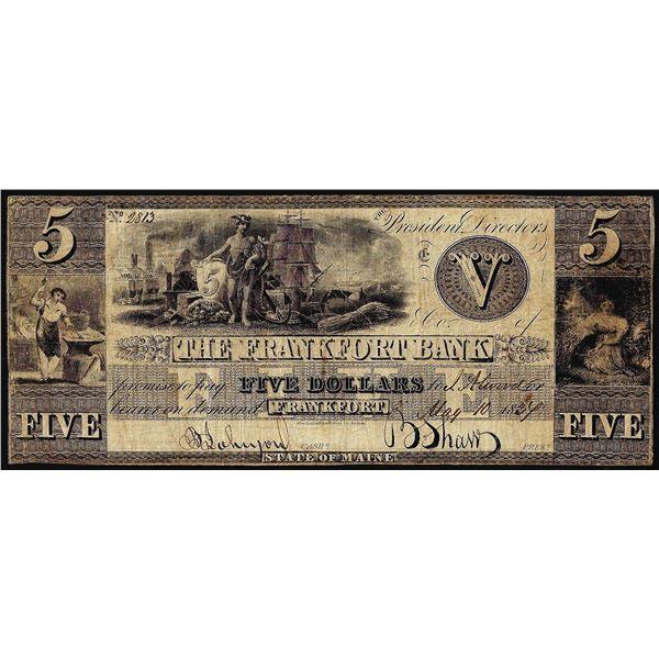 1834 $5 The Frankfort Bank Frankfort, KY Obsolete Banknote