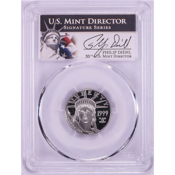 1999-W Proof $25 Platinum Eagle Coin PCGS PR69DCAM Philip Diehl Signature