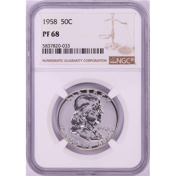 1958 Proof Franklin Half Dollar Coin NGC PF68