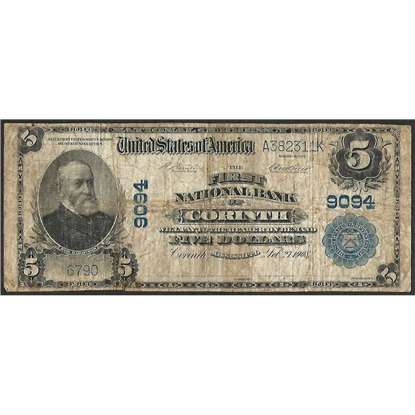 1902PB $5 First National Bank of Corinth, MI CH# 9094 National Currency Note