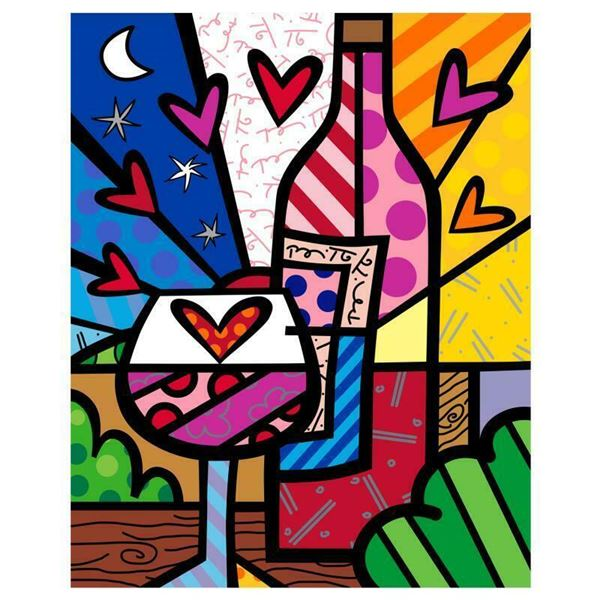 """Romero Britto """"Rose All Day"""" Limited Edition Giclee on Canvas"""