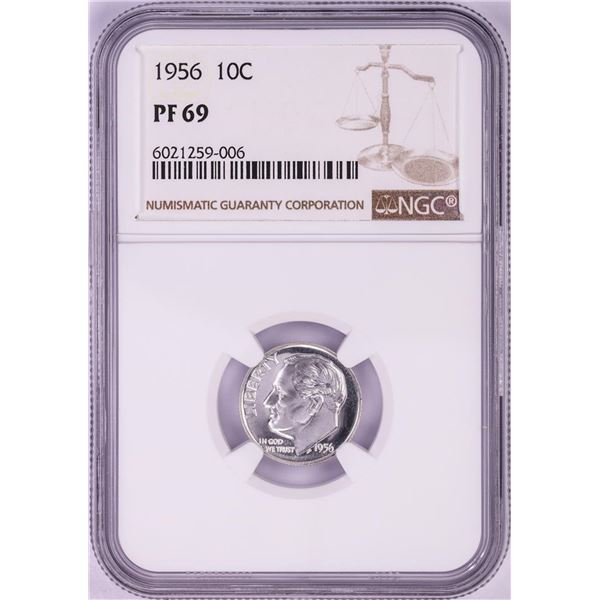 1956 Proof Roosevelt Dime Coin NGC PF69