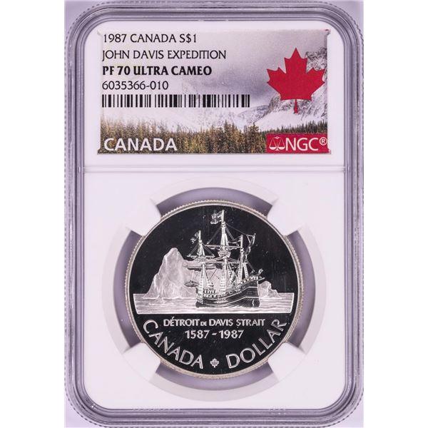 1987 $1 Canada Proof John Davis Expedition Silver Dollar Coin NGC PF 70 Ultra Cameo