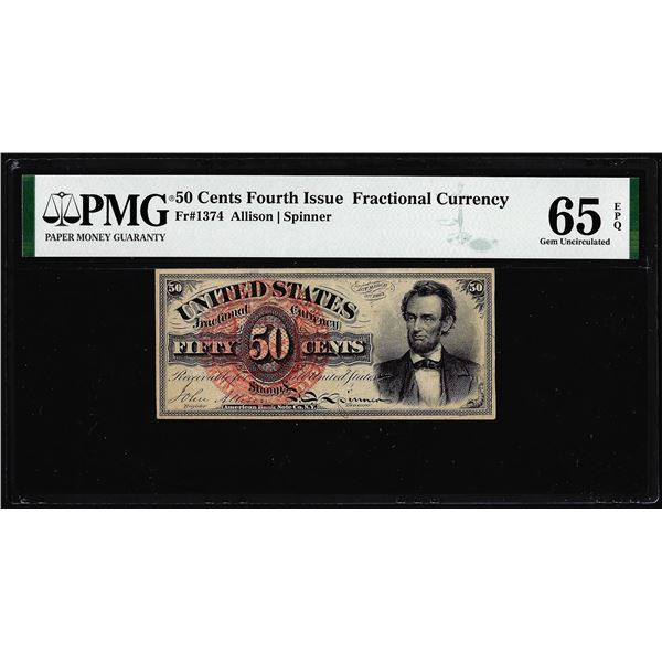 1863 Fourth Issue 50 Cent Lincoln Fractional Currency Note PMG Gem Uncirculated 65EPQ