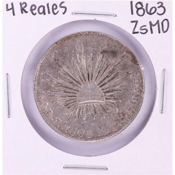 1863 ZsMO Mexico 4 Reales Silver Coin