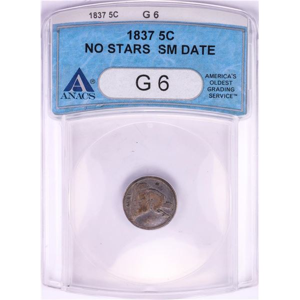 1837 No Stars Small Date Seated Liberty Half Dime Coin ANACS G6