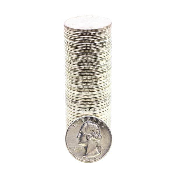 Roll of (40) Brilliant Uncirculated 1964 Washington Quarter Coins