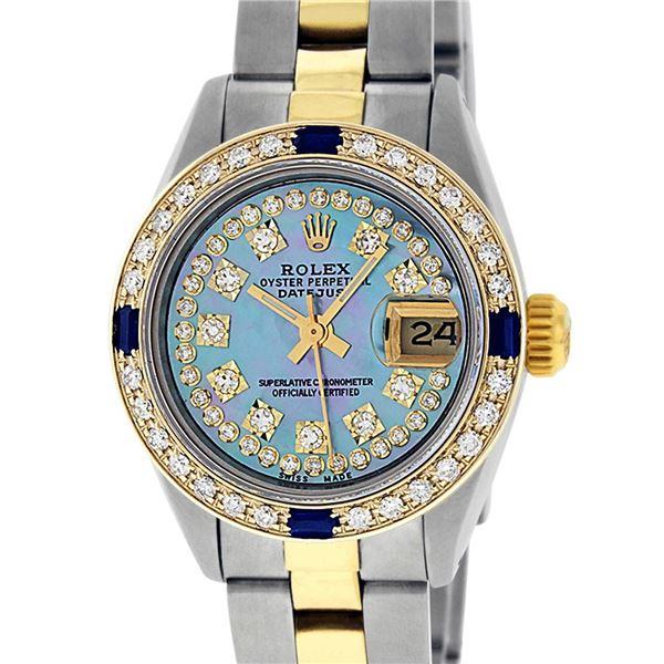 Rolex Ladies Two Tone 18K Gold Bezel Blue String Diamond & Sapphire Datejust Wristwatch