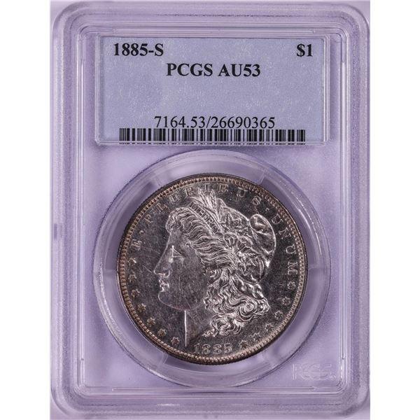 1885-S $1 Morgan Silver Dollar Coin PCGS AU53