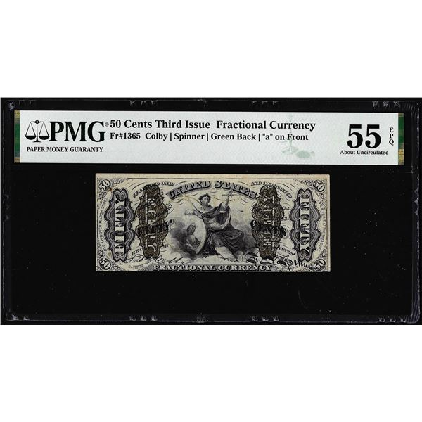 1863 Third Issue 50 Cents Fractional Currency Note Fr.1365 PMG About Unc. 55EPQ