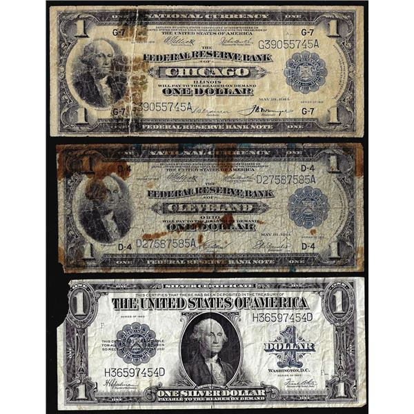 Lot of (3) Large Size U.S. $1 Federal Reserve and Silver Certificate Notes