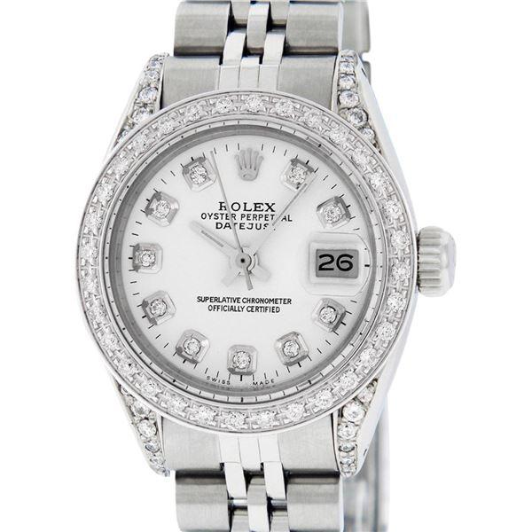 Rolex Ladies Stainless Steel White Diamond & Datejust Wristwatch