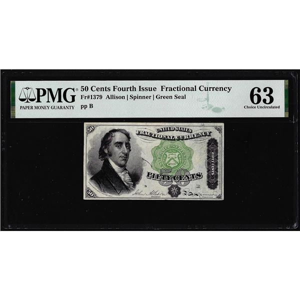 1863 Fourth Issue 50 Cent Fractional Currency Note Fr.1379 PMG Choice Uncirculated 63