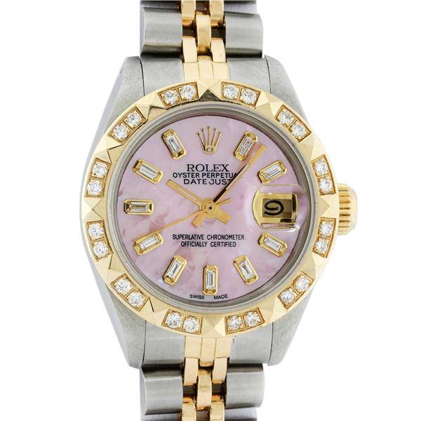 Rolex Ladies Two Tone Pink MOP Diamond Datejust Wristwatch