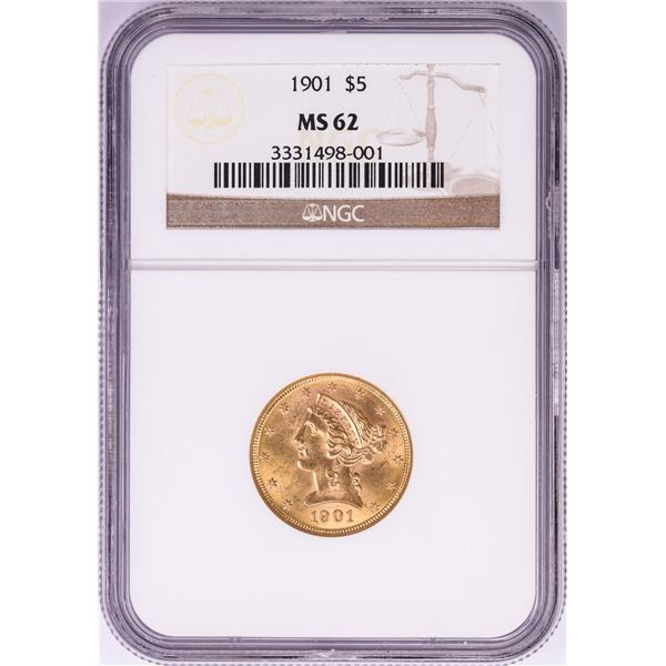 1901 $5 Liberty Head Half Eagle Gold Coin NGC MS62