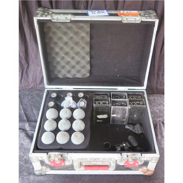 Mic Box: Qty 9 SM58, 6 SM57, 6 Countryman DI Type 85 & Clips in Gator Case