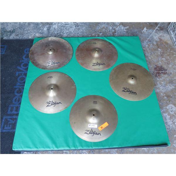 "Cymbal Set: Zildjian ""K"" China Boy, ""A"" 17"" Medium Crash, 18"" & Med ""A"" Rock Crash"