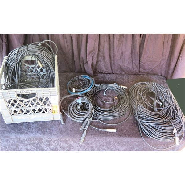 Crate of XLR Canare Cables: 1 -100', 1 -200', 1 -300' XLR &  -4 pair x 10' Fan to Fan