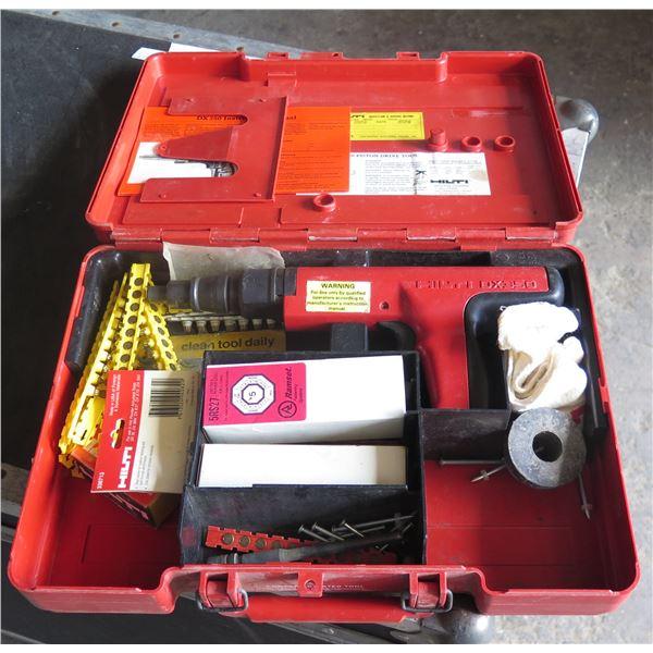 Hilti Gun  DX350 Powder Actuator Nail Gun Kit - Piston Drive Tool w/ Accessories in Case