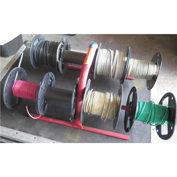 Red Metal Spool Holder w/ 8 Reels Misc Electrical Cable