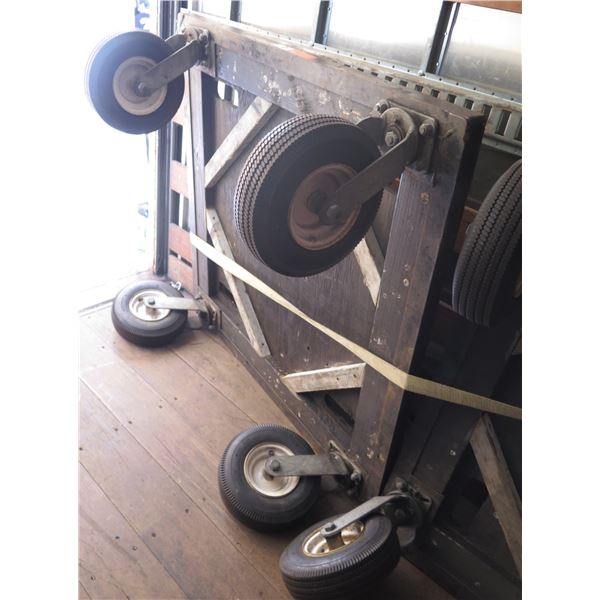 1 - PAIR Large Air Tire 4' x 4' Rolling Carts w/ Angle Iron Support