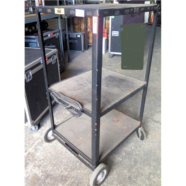 Tall, Solid Metal Black AV Cart 3 Shelves,  on Wheels
