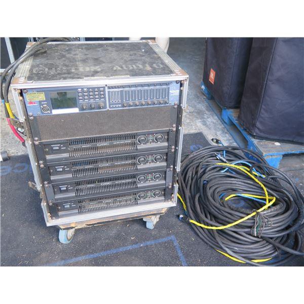 QSC Rack #1- 4 QSC Powerlight Amps; DBX 4800 Digital Proc and 2 x 100' quad cables